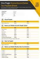 One Pager Accounts And Sales Tax Payable Sheet Presentation Report Infographic PPT PDF Document
