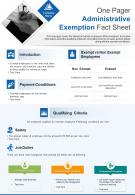 One Pager Administrative Exemption Fact Sheet Presentation Report Infographic PPT PDF Document