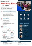 One Pager Advertising Agency Fact Sheet Presentation Report Infographic PPT PDF Document