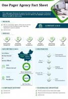 One Pager Agency Fact Sheet Presentation Report Infographic PPT PDF Document