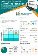 One Pager American Growth Fund Fact Sheet Presentation Report Infographic PPT PDF Document