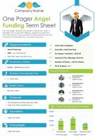 One Pager Angel Funding Term Sheet Presentation Report Infographic PPT PDF Document