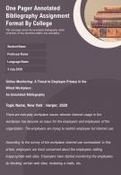 One Pager Annotated Bibliography Assignment Format By College Presentation Report Infographic PPT PDF Document