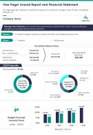 One Pager Annual Report And Financial Statement Report Infographic PPT PDF Document