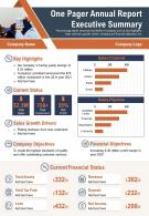 One Pager Annual Report Executive Summary Presentation Report Infographic PPT PDF Document