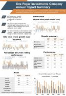 One Pager Annual Reports For Investment Clubs Summary Presentation Report Infographic PPT PDF Document