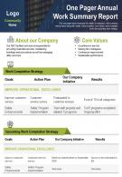 One Pager Annual Work Summary Report Presentation Report Infographic PPT PDF Document