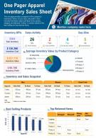 One Pager Apparel Inventory Sales Sheet Presentation Report Infographic PPT PDF Document