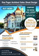 One Pager Architect Sales Sheet Design Presentation Report Infographic PPT PDF Document