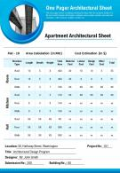 One Pager Architectural Sheet Presentation Report Infographic PPT PDF Document