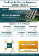 One Pager Architecture Responsive Website Template Presentation Report PPT PDF Document
