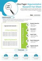 One Pager Argumentative Research Fact Sheet Presentation Report Infographic PPT PDF Document