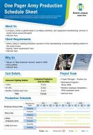 One Pager Army Production Schedule Sheet Presentation Report Infographic PPT PDF Document