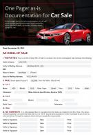 One Pager As Is Documentation For Car Sale Presentation Report Infographic PPT PDF Document