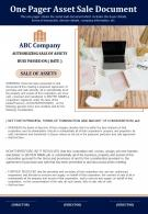 One Pager Asset Sale Document Presentation Report Infographic PPT PDF Document