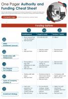 One Pager Authority And Funding Cheat Sheet Presentation Report Infographic PPT PDF Document