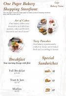 One Pager Bakery Shopping Storefront Presentation Report Infographic PPT PDF Document