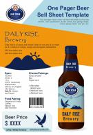 One Pager Beer Sell Sheet Template Presentation Report Infographic PPT PDF Document