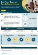 One Pager Behavior Data Collection Sheets Presentation Report Infographic PPT PDF Document