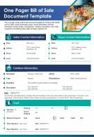 One Pager Bill Of Sale Document Template Presentation Report Infographic PPT PDF Document