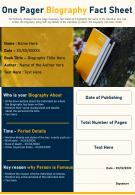 One Pager Biography Fact Sheet Presentation Report Infographic PPT PDF Document
