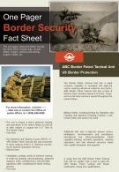 One Pager Border Security Fact Sheet Presentation Report Infographic PPT PDF Document