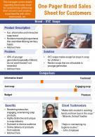 One Pager Brand Sales Sheet For Customers Presentation Report Infographic PPT PDF Document