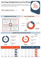 One Pager Budget Advocacy Fact Sheet Presentation Report Infographic PPT PDF Document