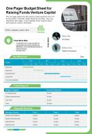 One Pager Budget Sheet For Raising Funds Venture Capital Presentation Report Infographic PPT PDF Document
