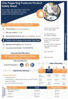 One Pager Bug Protector Product Safety Sheet Presentation Report PPT PDF Document