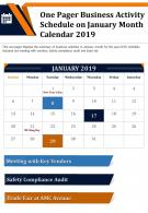 One Pager Business Activity Schedule On January Month Calendar 2019 Report Infographic PPT PDF Document