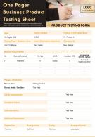 One Pager Business Product Testing Sheet Presentation Report Infographic PPT PDF Document