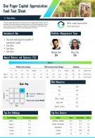One Pager Capital Appreciation Fund Fact Sheet Presentation Report Infographic PPT PDF Document