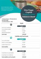 One Pager Capital Projects Fund Balance Sheet Presentation Report Infographic PPT PDF Document