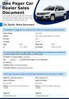One Pager Car Dealer Sales Document Presentation Report PPT PDF Document