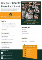 One Pager Charity Event Fact Sheet Presentation Report Infographic PPT PDF Document