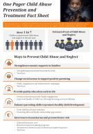 One Pager Child Abuse Prevention And Treatment Fact Sheet Presentation PPT PDF Document