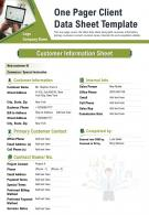 One Pager Client Data Sheet Template Presentation Report Infographic PPT PDF Document