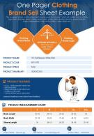 One Pager Clothing Brand Sell Sheet Example Presentation Report Infographic PPT PDF Document