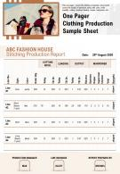 One Pager Clothing Production Sample Sheet Presentation Report Infographic PPT PDF Document