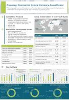 One Pager Commercial Vehicle Company Annual Report Presentation Report PPT PDF Document