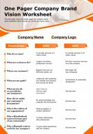 One Pager Company Brand Vision Worksheet Presentation Report Infographic PPT PDF Document