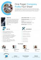 One Pager Company Profile Fact Sheet Presentation Report Infographic PPT PDF Document