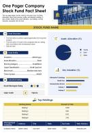 One Pager Company Stock Fund Fact Sheet Presentation Report Infographic PPT PDF Document