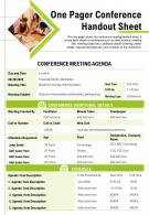 One Pager Conference Handout Sheet Presentation Report Infographic PPT PDF Document