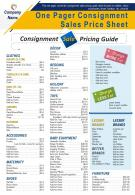 One Pager Consignment Sales Price Sheet Presentation Report Infographic PPT PDF Document