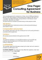 One Pager Consulting Agreement For Business Presentation Report Infographic PPT PDF Document