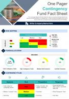 One Pager Contingency Fund Fact Sheet Presentation Report PPT PDF Document