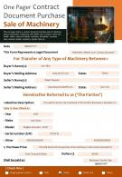One Pager Contract Document Purchase Sale Of Machinery Report PPT PDF Document