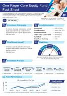 One Pager Core Equity Fund Fact Sheet Presentation Report Infographic PPT PDF Document